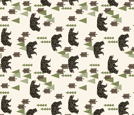 camping bear (RR)// avocado green cream vintage camping cute bear trees forest woodland fabric by andrea_lauren on Spoonflower - custom fabric