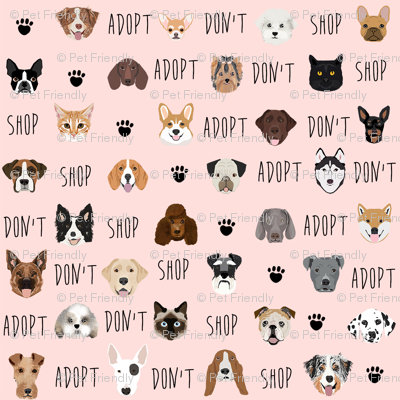 adopt don't shop dog fabric pink