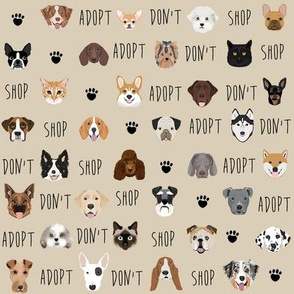 adopt don't shop dog fabric tan