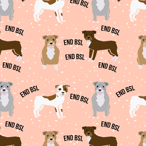 pitbull bsl pink fabric by petfriendly on Spoonflower - custom fabric