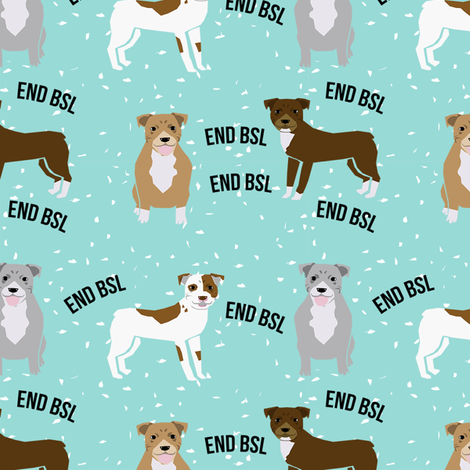 pitbull bsl light blue fabric by petfriendly on Spoonflower - custom fabric