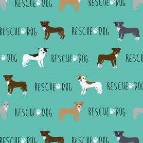 pitbull rescue dog fabric teal