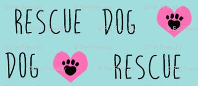 rescue dog hearts fabric blue