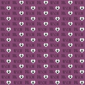 rescue dog hearts fabric purple
