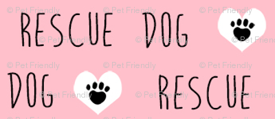 rescue dog hearts fabric pink