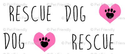 rescue dog hearts fabric white