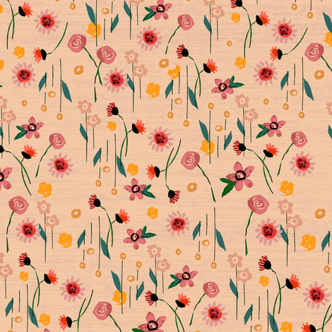 Soft Pink Floral fabric by sarah_treu on Spoonflower - custom fabric