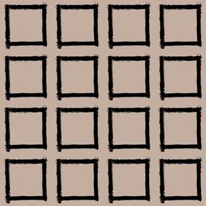Square Strokes Black on Nude