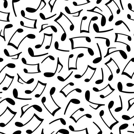 Music Notes White fabric by jannasalak on Spoonflower - custom fabric