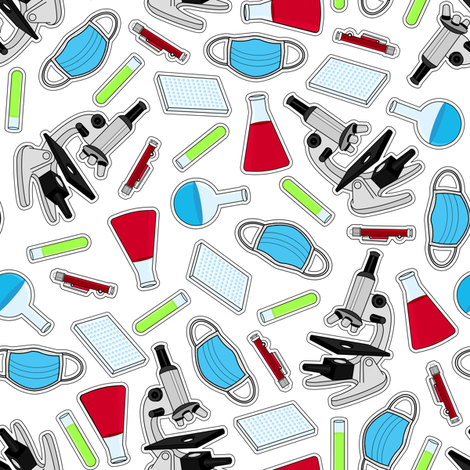 Cute Laboratory Pattern fabric by jannasalak on Spoonflower - custom fabric