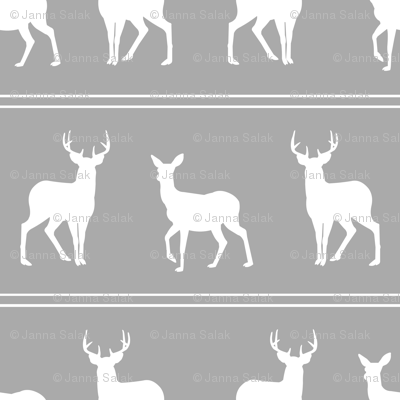 Deer and Buck Woodland Gray