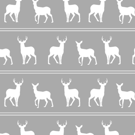 Deer and Buck Woodland Gray fabric by jannasalak on Spoonflower - custom fabric