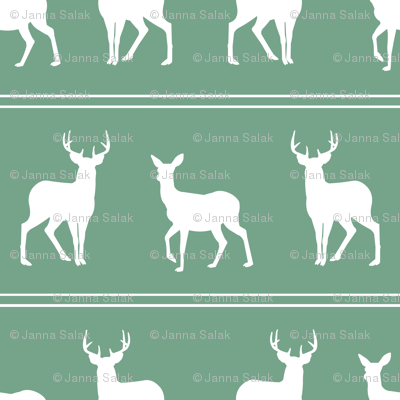 Deer and Buck Woodland Green