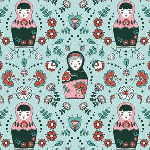 dolls & flowers // mint // little matryoshka collection