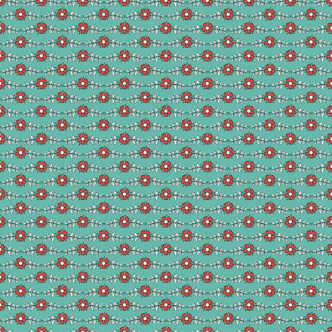 ditsy flowers // green // little matryoshka collection fabric by modeern on Spoonflower - custom fabric
