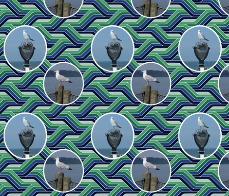 Sea Gulls on Wavy Water fabric by hanging_by_a_string on Spoonflower - custom fabric