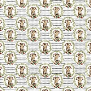 "1.5"" Floral Cow - Black Polka Dots"