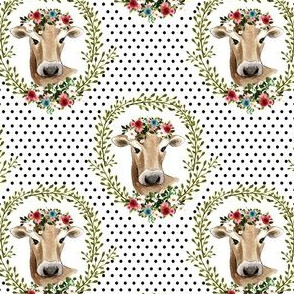 "4"" Floral Cow - Black Polka Dots"