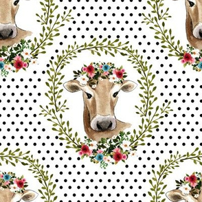 "8"" Floral Cow - Black Polka Dots"