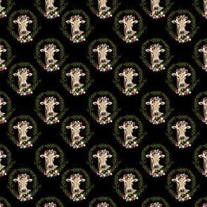"""1.5"""" Floral Cow - Black"""