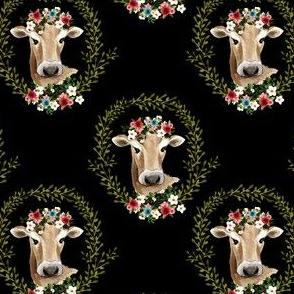 """4"""" Floral Cow - Black"""