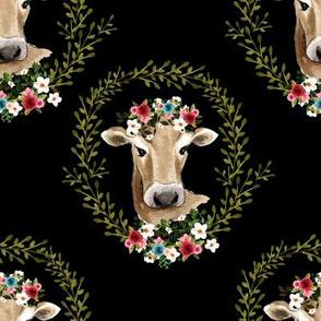 """8"""" Floral Cow - Black"""