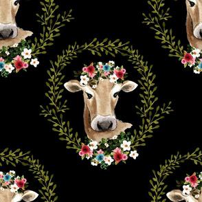 """18"""" Floral Cow - Black"""