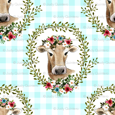 "1.5"" Floral Cow - Blue Gingham"