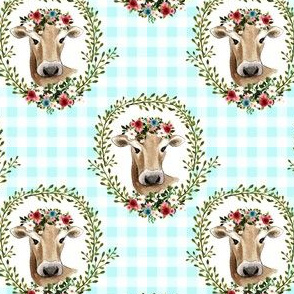"4"" Floral Cow - Blue Gingham"
