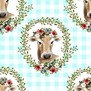 "8"" Floral Cow - Blue Gingham"