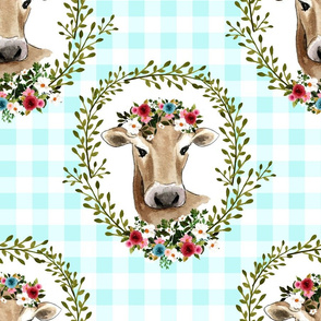 "18"" Floral Cow - Blue Gingham"