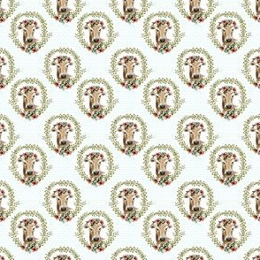 "1.5"" Floral Cow - Blue Polka Dots"