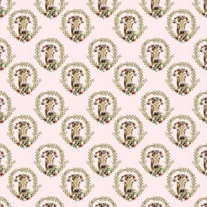 "1.5"" Floral Cow - Blush Pink"