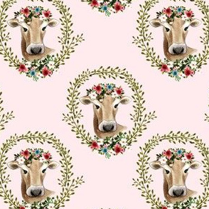 "4"" Floral Cow - Blush Pink"