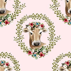 "8"" Floral Cow - Blush Pink"