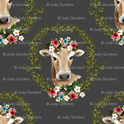 "4"" Floral Cow - Dark Grey"