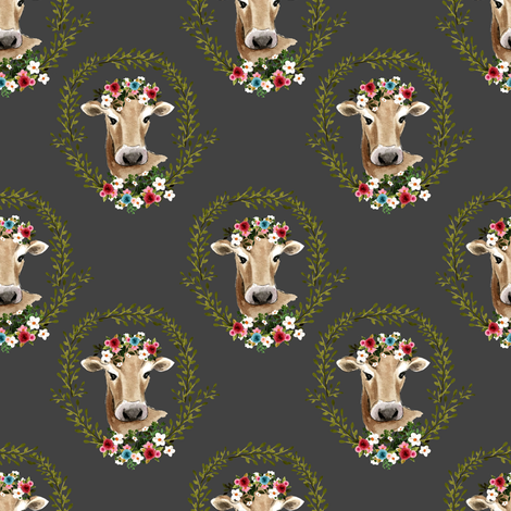 "4"" Floral Cow - Dark Grey fabric by shopcabin on Spoonflower - custom fabric"