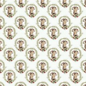 "1.5"" Floral Cow - Green Polka Dots"