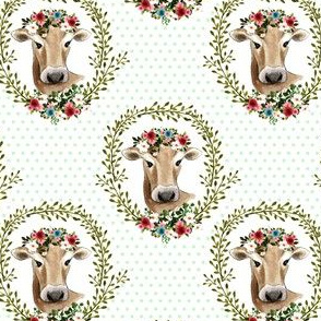 "4"" Floral Cow - Green Polka Dots"