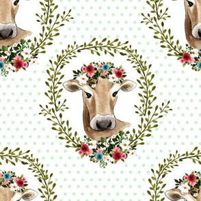 "8"" Floral Cow - Green Polka Dots"