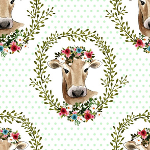 "18"" Floral Cow - Green Polka Dots"