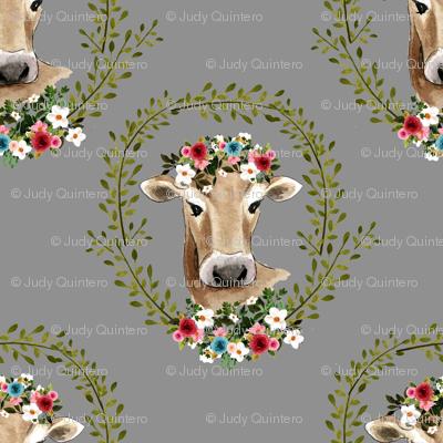 """4"""" Floral Cow - Grey"""