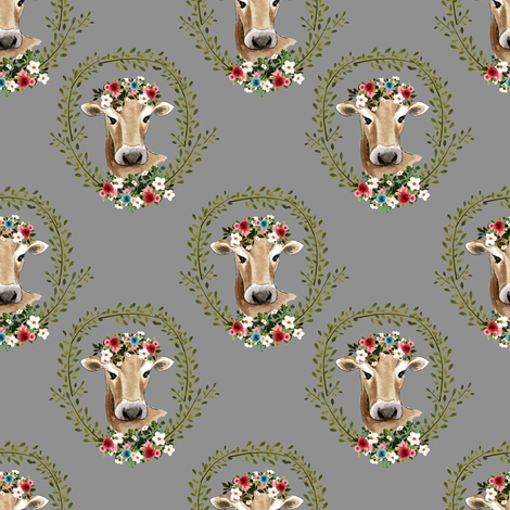 """4"""" Floral Cow - Grey fabric by shopcabin on Spoonflower - custom fabric"""