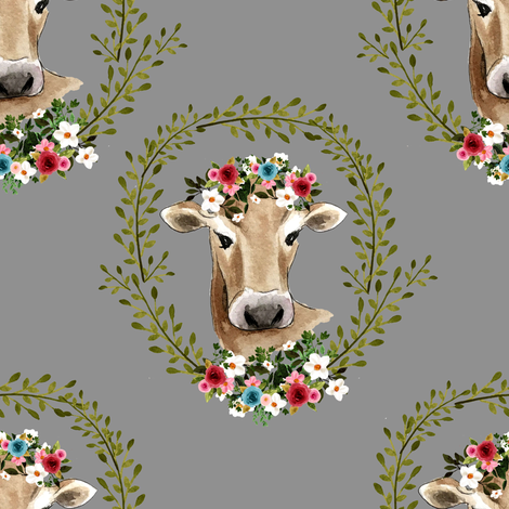 "8"" Floral Cow - Grey fabric by shopcabin on Spoonflower - custom fabric"