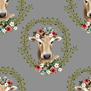 """8"""" Floral Cow - Grey"""