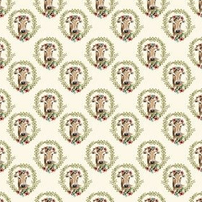 "1.5"" Floral Cow - Ivory"