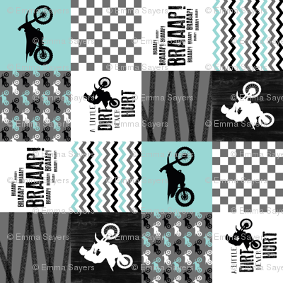 4.5 inch Motocross//A little dirt Never Hurt - wholecloth Cheater Quilt - Rotated