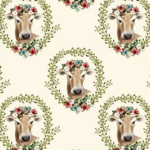 "4"" Floral Cow - Ivory"