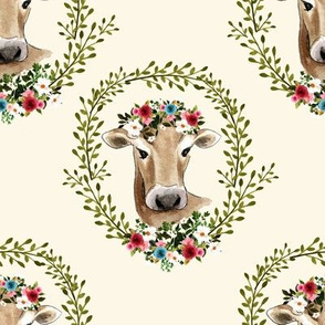 "8"" Floral Cow - Ivory"