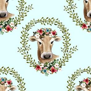 """8"""" Floral Cow - Light Aqua"""